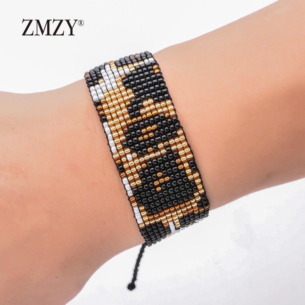 ZMZY-brazalete Vintage tejido con cuentas de Miyuki Delica, Pulseras de leopardo, Pulseras para Mujer, joyería para Mujer, brazalete hecho a mano
