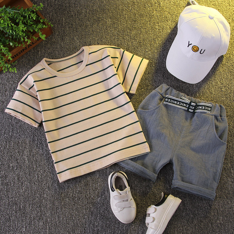 Boy Baby Clothes 2021 New Summer Toddler Set Striped T-shirt + Shorts Cotton Children Clothing Short Sleeve Outfit 1 2 3 4 Years 1