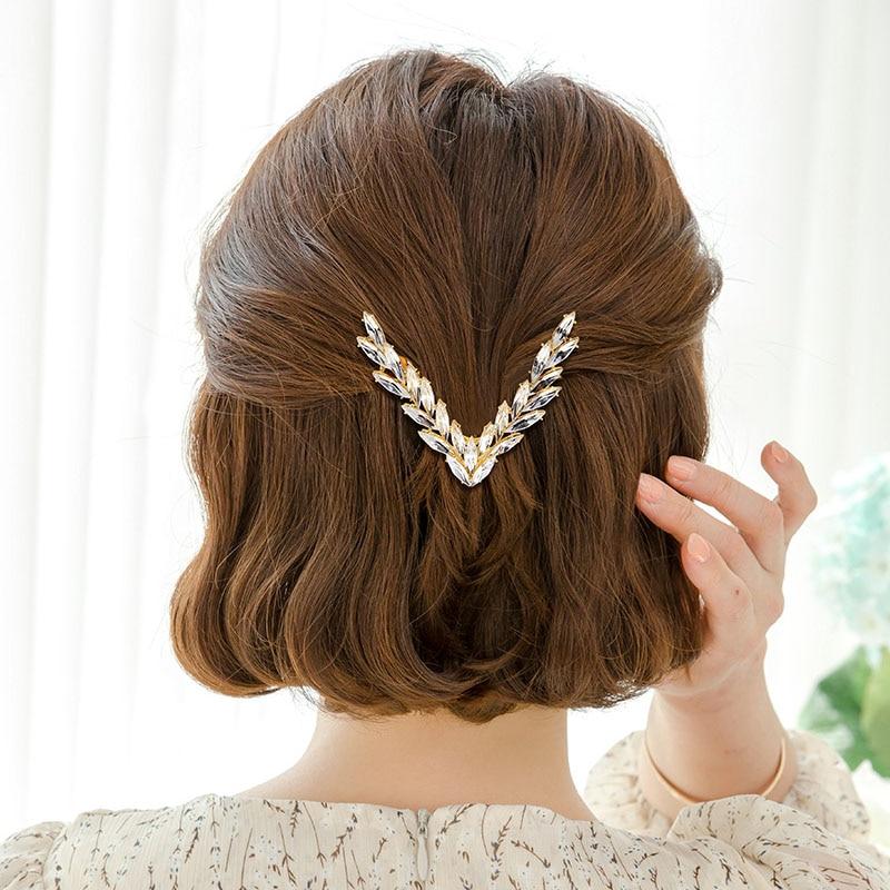 Women Hair Accessories Flower Hair Clip Pin Metal Alloy Hairband Barrette Gold