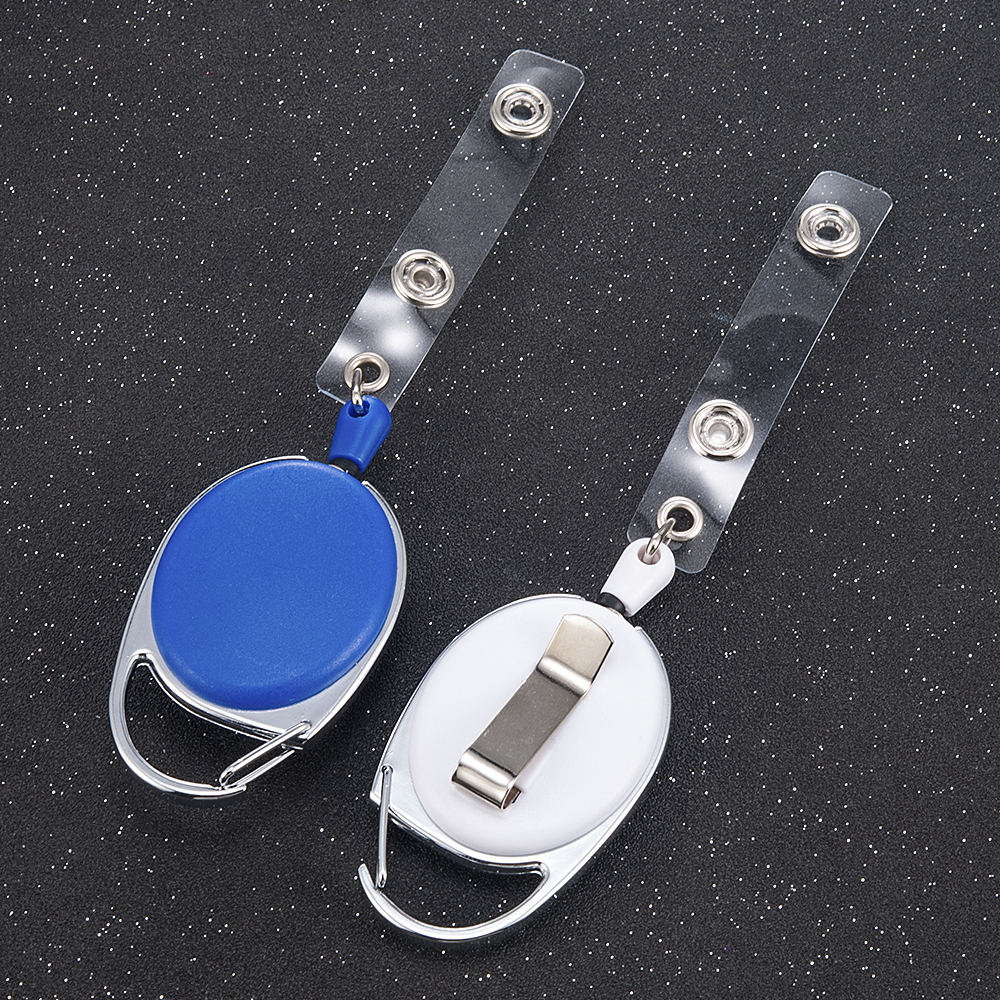 2019 Office Supplies Retractable Reel Black 65CM Steel Cord Keychain Recoil Tag Key Card Holder Belt Clip Multifunction Keychain