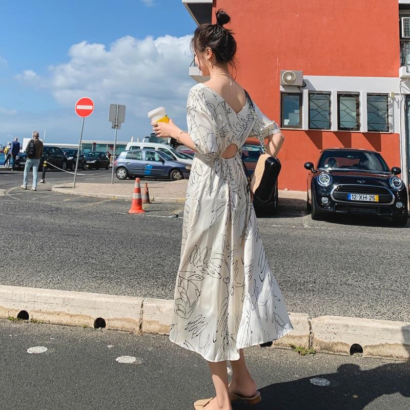 French Fu Gu Qun Yamamoto First Love Long Dress 2019 Summer New Style Korean-style Floral-Print High-waisted Dress Women's