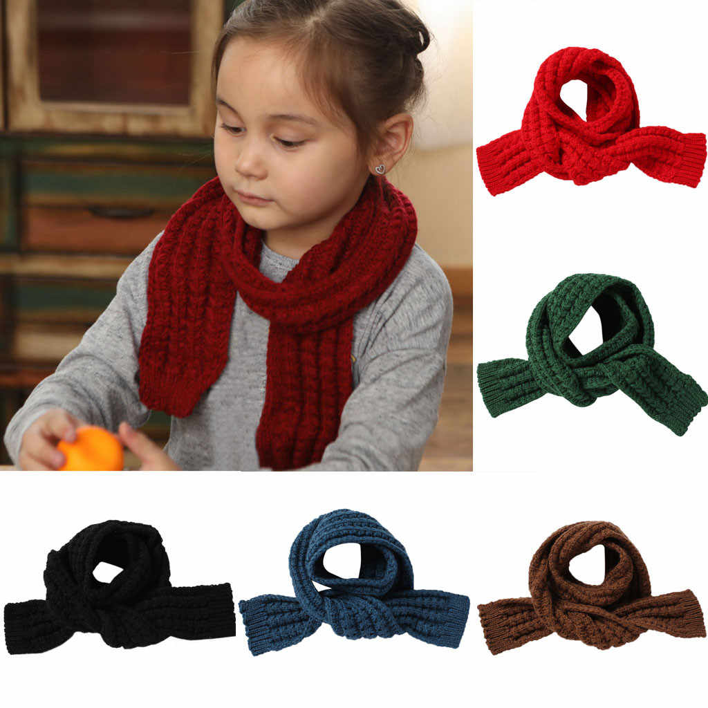 High quality Cute Boys Girls Baby Kid Fashion Knitted Scarf Autumn Winter Warm Solid Scarf Kid accessories toddler scarf 2019