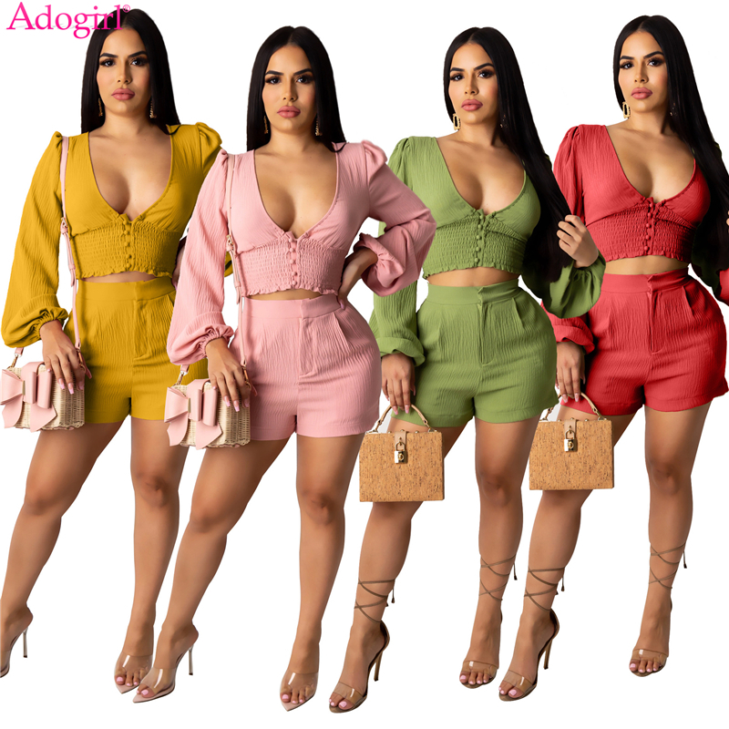 Adogirl Women Solid Casual Two Piece Set Buttons V Neck Long Lantern Sleeve Crop Top High Waist Shorts Cotton Wrinkle Suit
