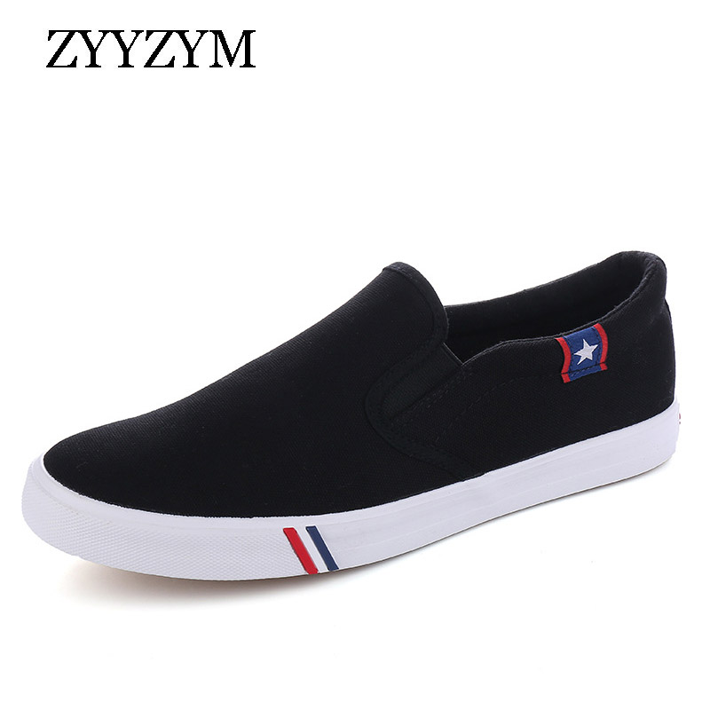 Mens Shoes Casual Canvas Spring Summer Slip-on Unisex Man Fashion Sneakers Flats Breathable Light Black Lovers Shoes Footwear