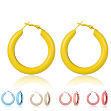 Colorful Thick Hoop Earrings Women Circle Round Neon Earring Bohemian Trendy Jewelry Hoops Statement Pink Blue Yellow MC016