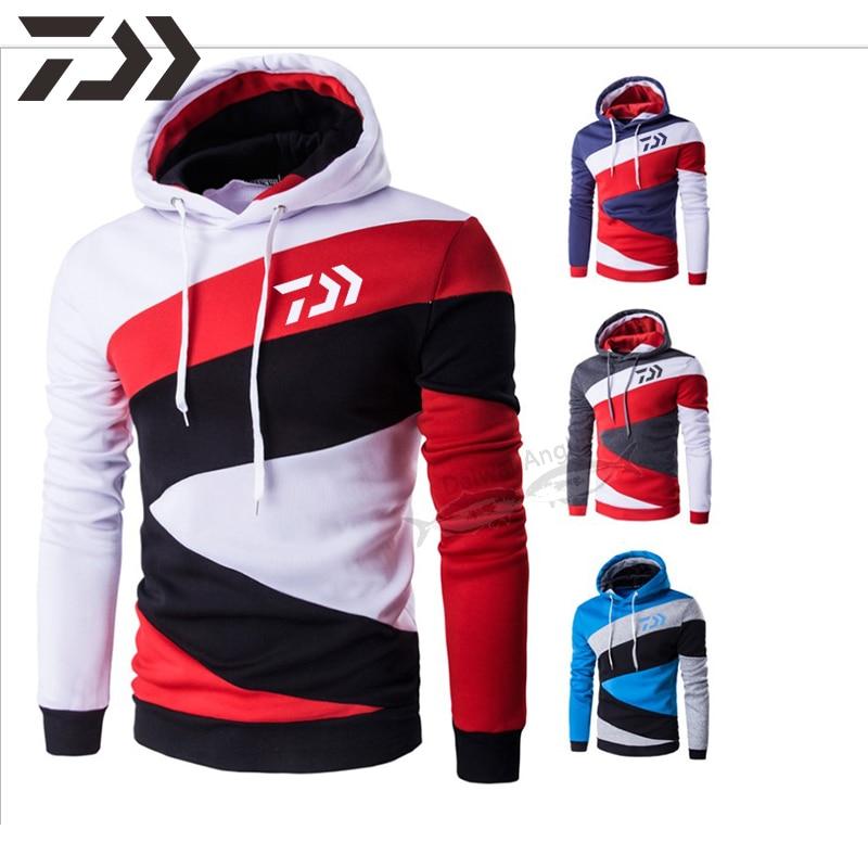 Autumn Daiwa Hoodies Fishing Sweatshirt Fishing Shirts Cotton Men Patchwork Fishing Clothes Sport Fishing Clothing For Men