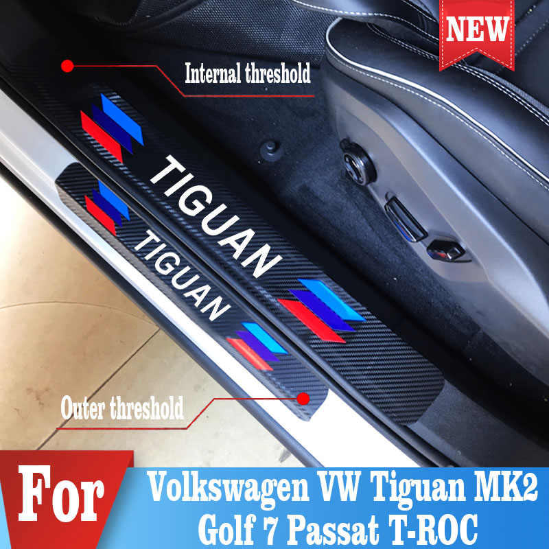4PCS Car Protector Door Sill Scuff Plate Decor Sticker For Volkswagen VW Tiguan MK2 Golf 7 Passat T-ROC Accessories