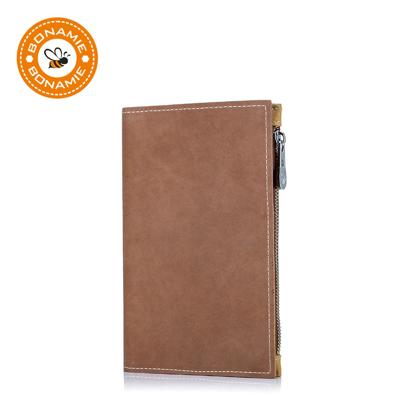 BONAMIE Passport-Case Ticket Travel Protective-Sleeve Zipper Multifunctional Genuine-Leather