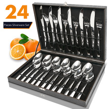 Spoon Cutlery-Set Tableware Wooden-Box Stainless-Steel Gift-Box 24pcs Mirror-Polishing-Sets