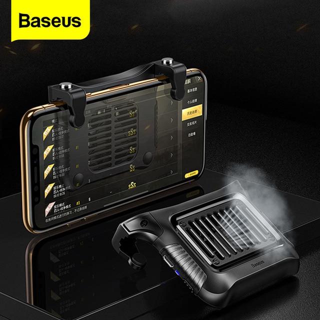 عصا تحكم من Baseus Gamepad مزودة بمشغل لألعاب PUBG L1RL مزودة بزر إطلاق نار ومبرد لهاتف iPhone Andriod للتحكم بالهاتف المحمول