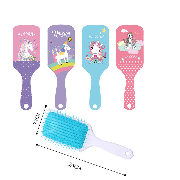 1Pcs Cute Unicorn Animal Anti-static Hair Brush Massage Comb Shower Wet Detangle Hair Brush Salon Hair Styling Tools
