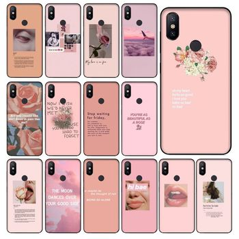 Vintage Pink Aesthetics songs lyrics Black Soft Shell Phone Cover For Redmi 5 6 5plus 6Pro 6A S2 4X Redmi 7 7A Cover case Cover image