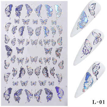 3D Butterfly Nail Stickers Nagels Nail Art Laser Gold Silver Vlinder Sticker Decal Vlinders Acryl Manicure Decoratie Tools HOT image