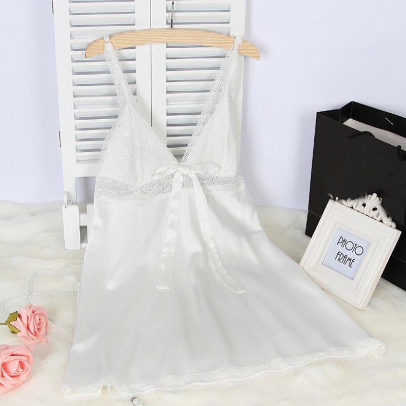 Wanita Sutra Satin Gaun Malam Renda Gaun Malam Musim Panas Gaun Rumah - Pakaian dalam - Foto 5