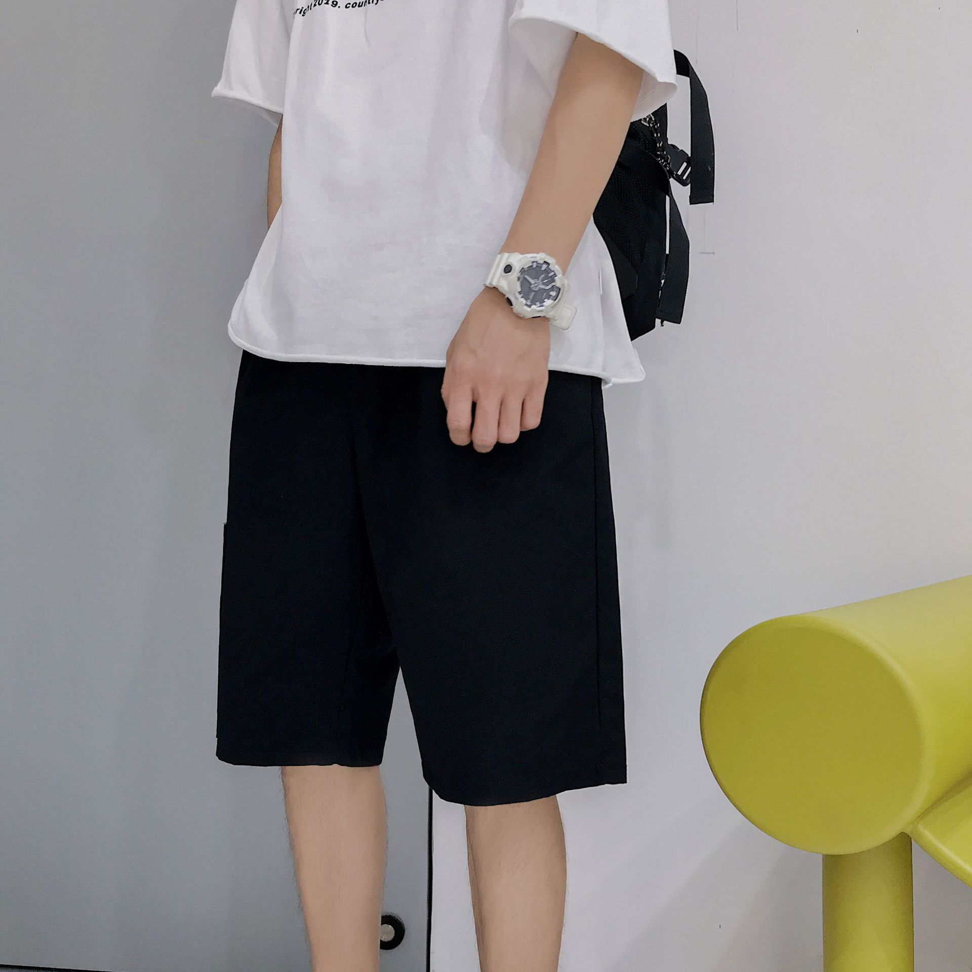 Summer Thin Section Casual Shorts MEN'S Work Pants Korean-style Trend Teenager Straight-Cut Sports 5 Pants Popular Brand