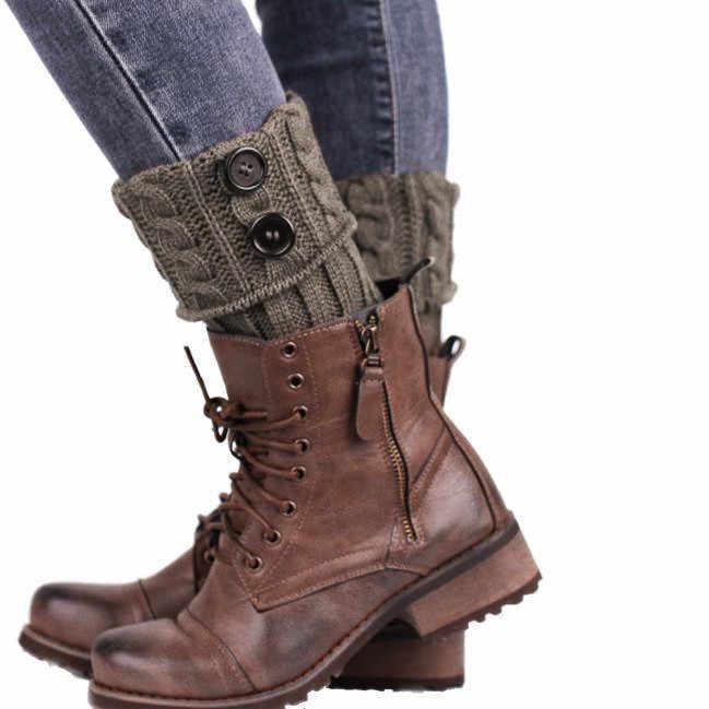 ถักถุงเท้าขาอุ่น BOOT COVER เก็บถุงเท้าอบอุ่นฤดูหนาวปุ่มนักเรียนขาอุ่นผู้หญิง calentadores de # x2