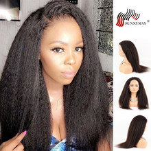 Sunnymay Lace Front Human Hair Wigs Pre Plucked Remy Brazilian Wigs Kinky Straight Human Hair Lace Frontal Wigs(China)