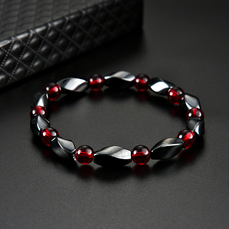 Fashion Red Agates Hematite Bracelets Men Positive Energy Hematite Charm Bracelets Women Natural Stone Lucky Bracelet Jewelry