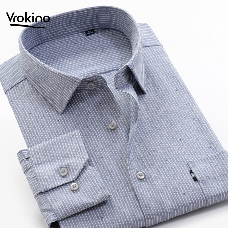 12XL 13XL 14XL 2019 Fall New Listing Men's Business Casual Striped Shirt Classic High Quality Cotton Long Sleeve Shirt