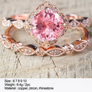 JYA Mode Rosa Zirkonia Ringe für Frauen Strass Doppel Hochzeit Ring Set Schmuck Großhandel Viele Schütt Jahrestag Geschenke