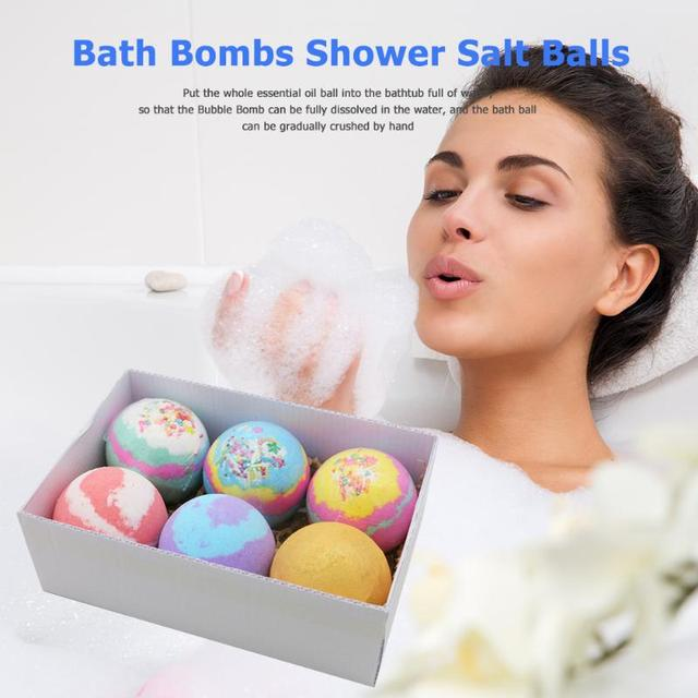 6pcs/set Soap Handmade Bath Bomb Ball Essential Oil Exfoliating Body Shower Bubble Salt Balls Skin Care Cleaning 1