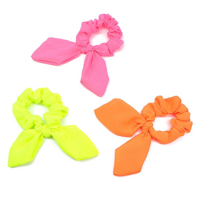 Girls//Women Bunny Ear Bow Hair Scrunchies Hair Band Ponytail Holder Elastic Band
