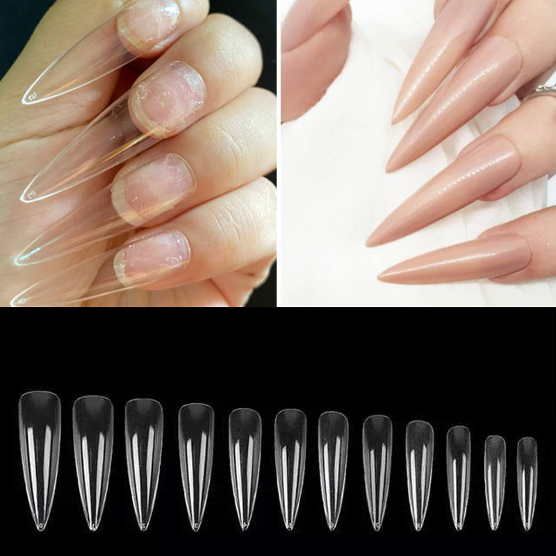 XXL Extra Long Stiletto Pointy False Nail Tips Full Cover Nails Fake Tip Press On Salon Manicure Supply
