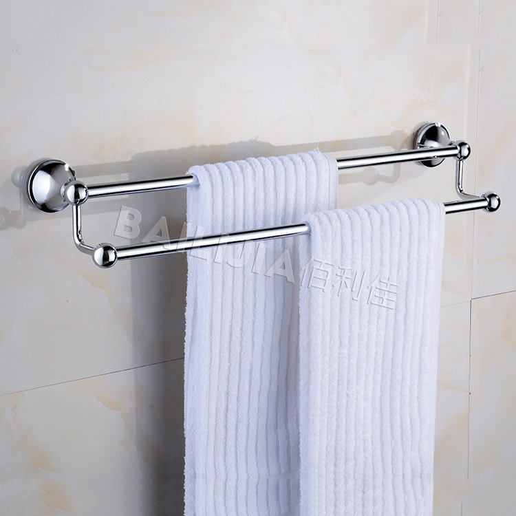Manufacturers Direct Selling bai li jia Stainless Steel Tower Rack Towel Rack Double Poles Stainless Steel Double Bar Towel Rack