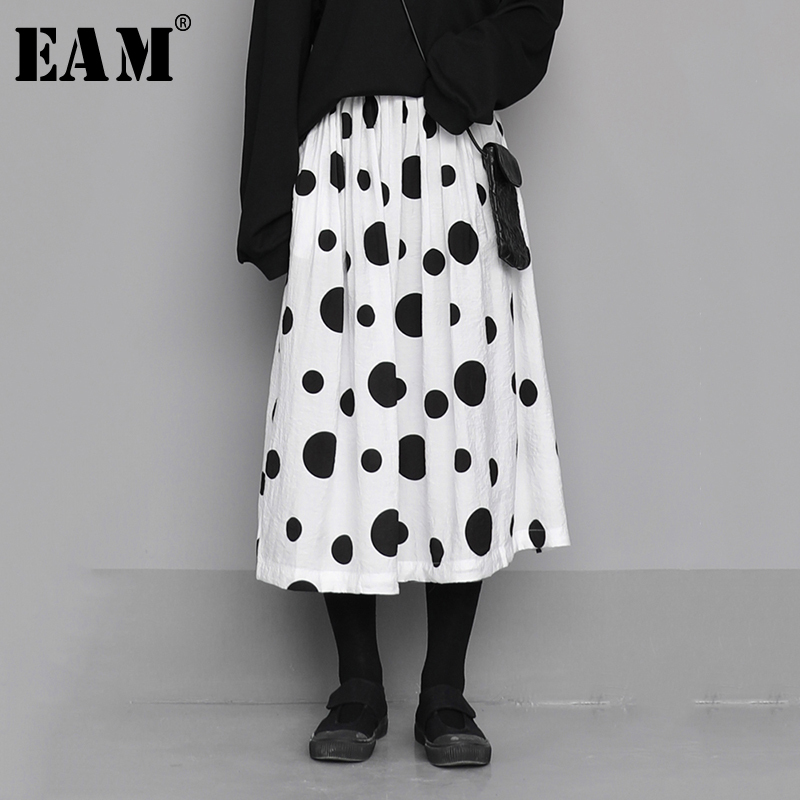 [EAM] High Elastic Waist Black Dot Print Split Temperament Half-body Skirt Women Fashion Tide New Spring Autumn 2020 1N556