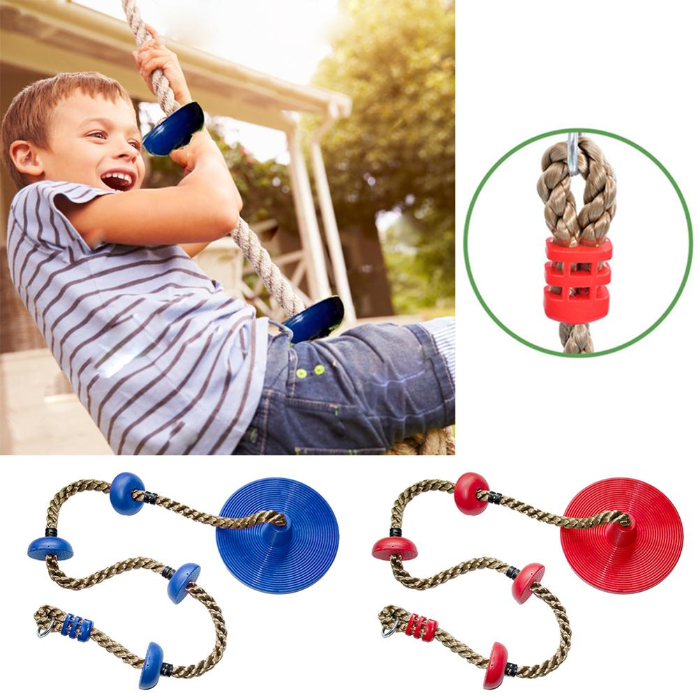 Kids Swing Rope Safe Indoor Outdoor Jungle Gym Kingdom Disc Swing Seat With Platform Plastic Hanging Swing Set Kid Toy