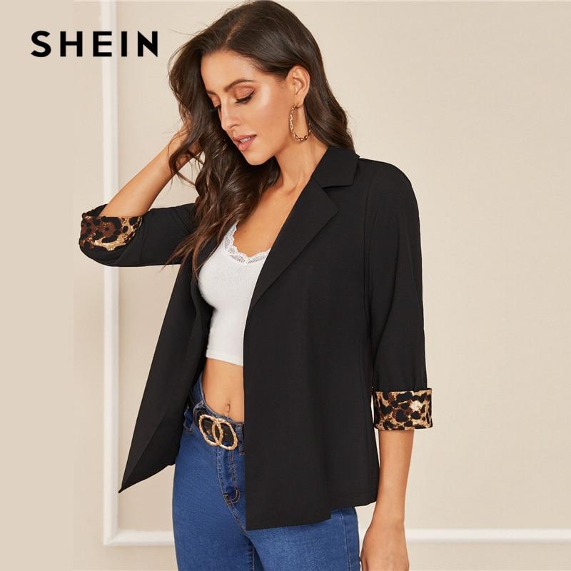 Image 4 - SHEIN Notched Collar Leopard Print Cuffed Sleeve Elegant Blazer  Women 2019 Autumn Roll Up Sleeve Office Ladies Blazer CoatsBlazers   -