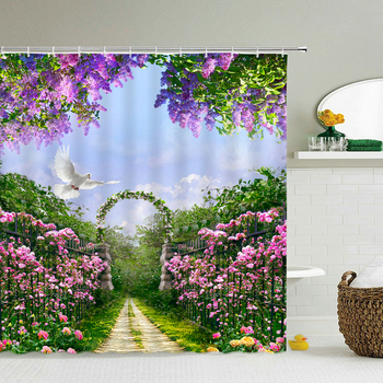 High Quality Washable Shower Curtain Natural Scenery 3D Waterproof Fabric Bathroom Decor Large 240X180 Printed Shower Curtain image