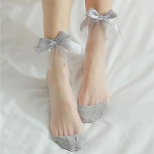 Модные ультратонкие носки, летние женские прозрачные кружевные однотонные короткие носки, милые винтажные сетчатые носки из стекловолокна с жемчужным бантом|Носки|   | АлиЭкспресс