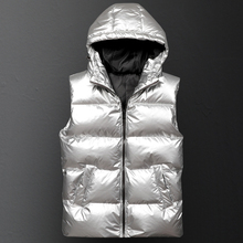 Mens Winter Vest Hooded Cotton Padded Thickening Vest Men Windbreaker Mens Jacket Sleeveless Casual Male Coats Outdoors Vests