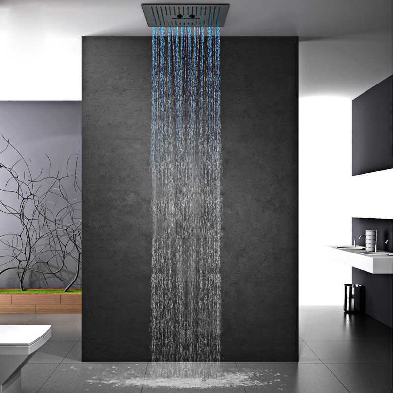 16 Inch Remote Control Light Black Shower Head Rainfall Shower Bathroom Colorful Led Showerhead Misty Waterfall Shower Ceiling Shower Heads Aliexpress