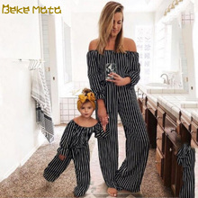 Mommy And Me Clothes Striped Mom And Daughter Jumpsuits Fami