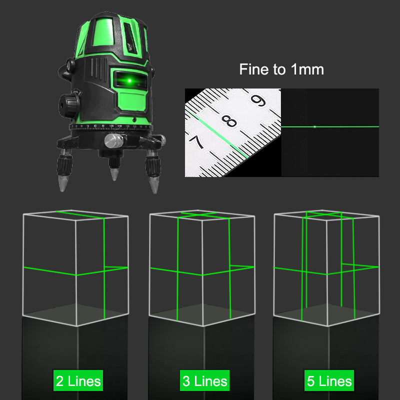 Tools : Laser Level 2 3 5 Cross Lines Self-Leveling Green Radius Alternating Direct 360 Rotatable Horizontal Vertical Measuring