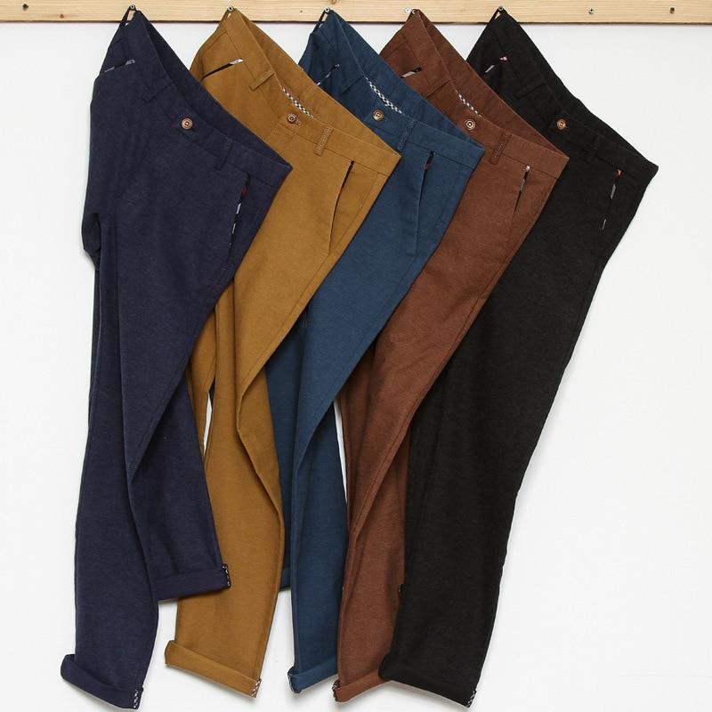 5 Color Men's Casual Pants Classic Style Sanding Slim Fit Solid Color Khaki Stretch Trousers Male Brand Clothes