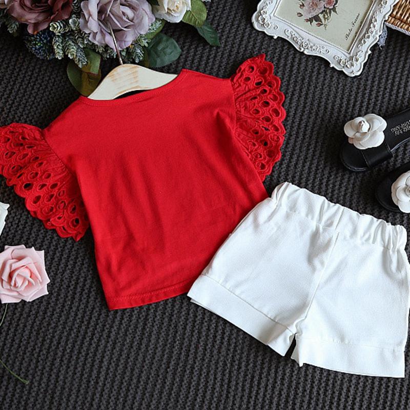 3-8Y Toddler Kid Girls Clothing Set Lace Ruffles T shirt Tops + Shorts Outfits Summer Children Girl Costumes