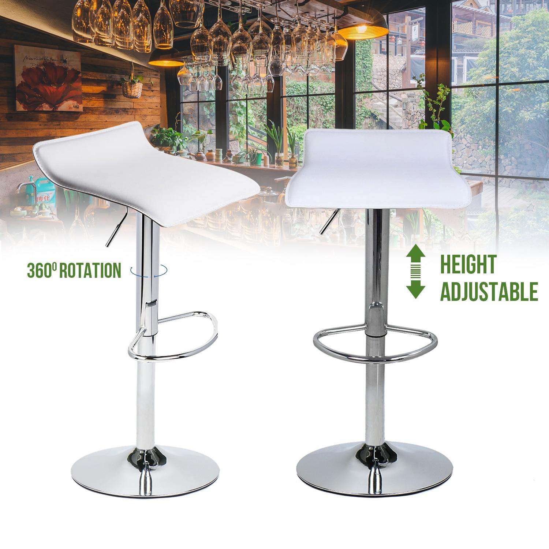 Set Of 2 Breakfast Bar Stools Fullwatt Adjustable Swivel Bar Stools Air Lift Mordern PU Leather Counter Height Pub Stools Chairs