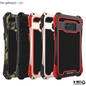 Image 5 - R JUST Dành Cho Samsung 10 Plus S9 S8 S7 Edge Giáp Vua Nhôm Sợi Carbon Chống Sốc Dành Cho Galaxy note 8 9 10Coque