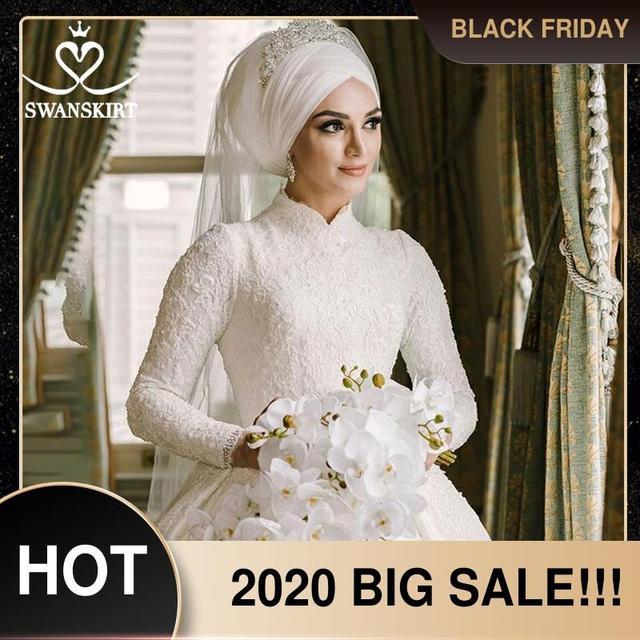 Sang Trọng Hồi Giáo Appliques Áo Cưới Swanskirt AZ01 Vintage Công Chúa Bầu Dài Tay Satin Áo Dài Cô Dâu Đầm Vestido De Noiva