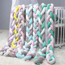 QWZ-parachoques de nudo nórdico para recién nacido, almohada larga trenzada con nudos, cama de bebé, parachoques en la cuna, decoración de habitación infantil, 1M/2M/3M de longitud