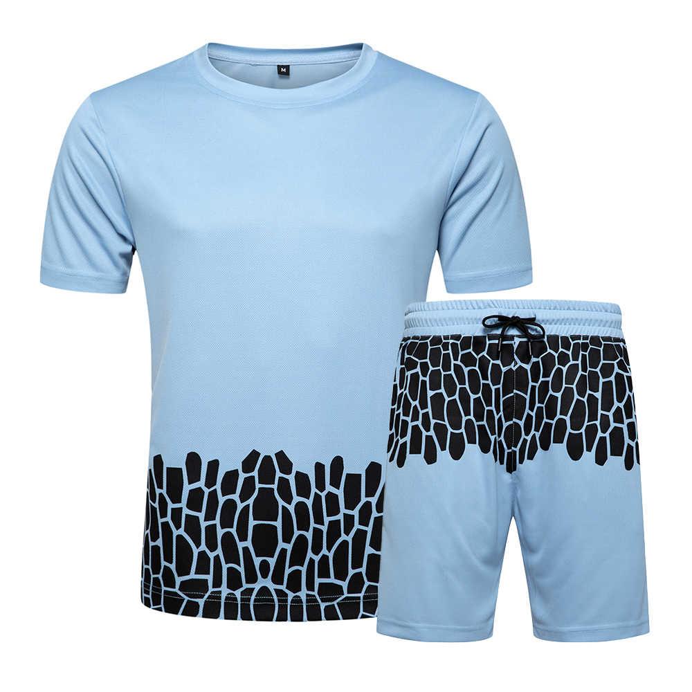 Mannen Shorts Sets Mode Zomer Casual Trainingspak Mannelijke Twee Stukken Tee Shirt Homme Korte Boardshorts Joggers Sweatsuit Zwart Wit