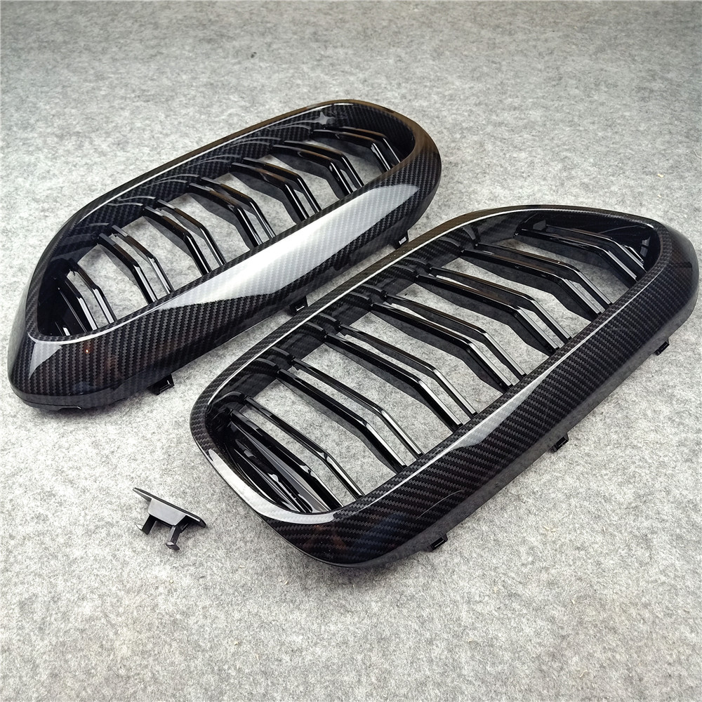 One Pair <font><b>G30</b></font> Front Bumper <font><b>Grill</b></font> For BMW 5 Series M5 <font><b>G30</b></font> G38 520i 530i 540i ABS 2-slat Carbon Fiber Look Front Kidney Grille image