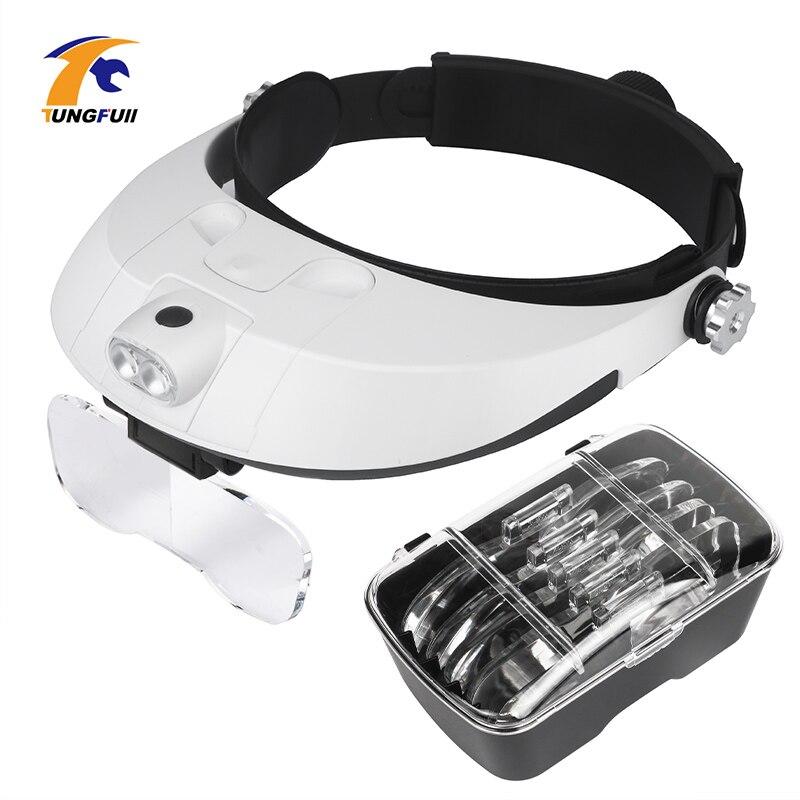 Headband Magnifier Multi-functional Illuminated Magnifier Magnifying Glass 1X 1.5X 2X 2.5X 3.5X Head Loupe Magnifier Repair Tool