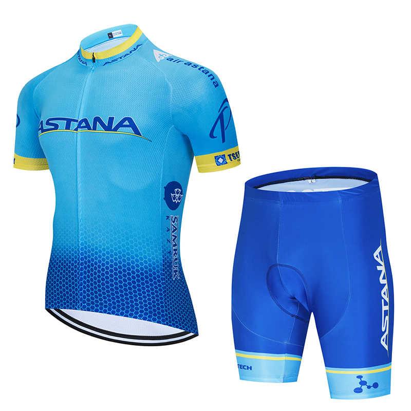 Novo 2019 camisa de ciclismo astana team 12d bicicleta shorts secagem rápida conjunto para homens roupas pro equipe ciclismo roupas homem