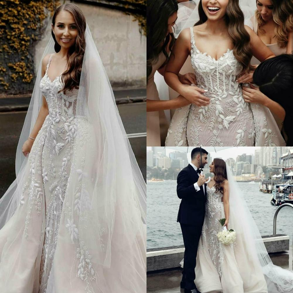 2020 Spaghetti Mermaid Wedding Dresses With Detachable Train Lace Appliques Fish Bone Top Robes De Mariée Backless Bridal Gowns
