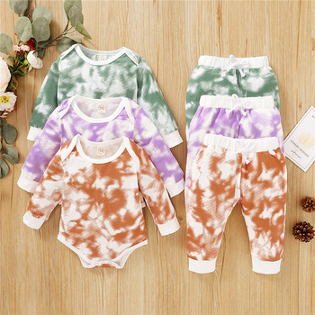 цена на Baby Boys Tie Dye Clothes Suits Spring Casual Baby Girls Clothing Sets Toddler Infant Rompers+Pants Sports Pants Autumn Kids Set