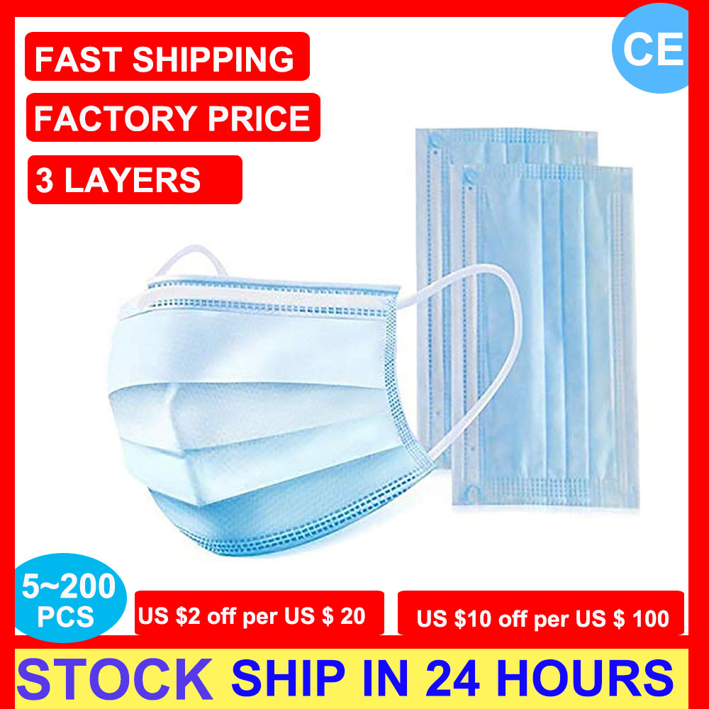 CE Anti Virus Disposable Mask Facemask Surgical Masks Protective Mask Anti-dust Mask Anti Pollution Non-woven Mouth Masks Stock
